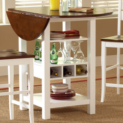 Bernards - Ridgewood Drop Leaf / Wine Rack Table - White / Mahogany Finish - Mahogany and white finished drop top leaf pub table features a rich finish over selected hardware and veneers with white bases. Pub table offers 2 shelves and wine storage perfect for that small dining area.