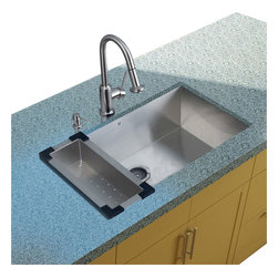 Vigo Industries - Platinum Stainless Steel Kitchen Sink with Faucet and Colander - Includes stainless steel kitchen sink, stainless steel kitchen faucet, matching colander, strainer and stainless steel soap dispenser and all mounting hardware