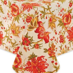 C & F Enterprises, Inc. - Sydney Tablecloth - A bright, colorful all-over floral pattern covers this beautiful tablecloth. It's light-weight and livens up any table setting. Coordinate with the matching 4-pack of napkins (sold separately). For indoor use only. 100% polyester.