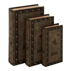 Benzara - Decorative Wood Fabric Book Box Set of Three Depicting The Image of a Bird - Decorative wood fabric book box set of three depicting the image of a bird, a cage and a butterfly. Some assembly may be required.