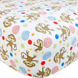 """Trend Lab - Crib Sheet - Monkey Print Flannel - Your child's bed will be soft and cozy with this Monkey Print Flannel Fitted Crib Sheet by Trend Lab. Sheet features a scatter print of monkeys, dots, and swirls in sage, orange crush, red hot, lemon, caramel, chocolate, almond buff, cream and scuba blue on a white background. Sheet features 7"""" deep pockets and fits a standard 52"""" x 28"""" crib mattress. Elastic around entire opening and elastic sheet straps sewn in each corner ensures a more secure fit. Coordinates with the Animals collection by Trend Lab."""