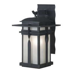 Kenroy Home - Kenroy 91901BL Carrington 1 Lt. Small Lantern - The Carrington wall lanterns are a modern culmination of a classic wrought iron look that applies contemporary design to a familiar fixture of exterior lighting.  Amber and Frosted White glass pair beautifully with Rust and Black housings.
