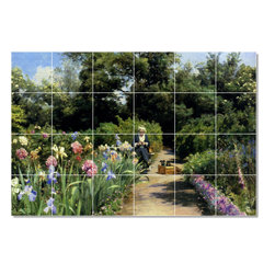 Picture-Tiles, LLC - Knitting In The Garden Tile Mural By Peder Mork Monsted - * MURAL SIZE: 32x48 inch tile mural using (24) 8x8 ceramic tiles-satin finish.