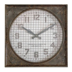 Uttermost Warehouse Clock with Grill - 26W x 26H in. - About UttermostThe mission of the Uttermost Company is simple: to make great home accessories at reasonable prices. This has been their objective since founding their family-owned business over 30 years ago. Uttermost manufactures mirrors, art, metal wall art, lamps, accessories, clocks, and lighting fixtures in its Rocky Mount, Virginia, factories. They provide quality furnishings throughout the world from their state-of-the-art distribution center located on the West Coast of the United States.