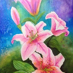 """""""Pink Lilies"""" (Original) By Karen Andersen-Grim - This Is A Painting From When I Did An Online Art Class. This Is Done In Twinkling H2O'S Watercolor. They Are A Shimmering Watercolor. The Size Includes The Frame."""