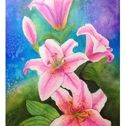 """Pink Lilies"" (Original) By Karen Andersen-Grim - This Is A Painting From When I Did An Online Art Class. This Is Done In Twinkling H2O'S Watercolor. They Are A Shimmering Watercolor. The Size Includes The Frame."