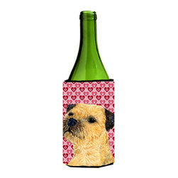 Caroline's Treasures - Border Terrier Hearts Love Valentine's Day Portrait Wine Bottle Koozie Hugger - Border Terrier Hearts Love and Valentine's Day Portrait Wine Bottle Koozie Hugger Fits 750 ml. wine or other beverage bottles. Fits 24 oz. cans or pint bottles. Great collapsible koozie for large cans of beer, Energy Drinks or large Iced Tea beverages. Great to keep track of your beverage and add a bit of flair to a gathering. Wash the hugger in your washing machine. Design will not come off.