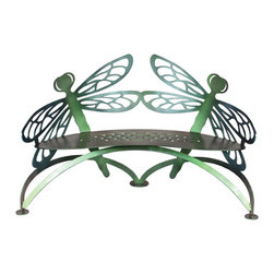Cricket Forge - Dragonfly Bench, Colorshift - Designed to embellish garden ponds, water features, patios and flower gardens, our Dragonfly Bench brings to mind the symbolism of the dragonfly  courage, strength and happiness. May these attributes be bestowed on the owners of this exquisite piece of functional art.  Colorshift changes in the light and has a Green/Gold body with Blue/Green/Purple wings.