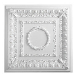"""Regal Ceiling Tile - White - Perfect for both commercial and residential applications, these tiles are made from thick .03"""" vinyl plastic. Their lightweight yet durable construction make these tiles easy to install. Waterproof, these tiles are washable and won't stain due to humidity or mildew. A perfect choice for anyone wanting to add that designer touch at an amazing price."""