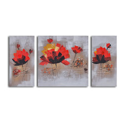 Dancing red lillies Hand Painted 3 Piece Canvas Set - Dance on air. These twirling lilies appear to be floating on canvas. Painted by hand in richly saturated hues, they'll add one-of-a-kind character to your space.