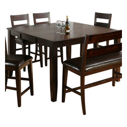 Jofran - Jofran Dark Rustic Prairie Butterfly Leaf Counter Height Table - The Anne counter height table with Stools by Jofran is crafted from Asian hardwood and Mango veneers with a dark Rustic Prairie finish. The Anne counter height table comes with an 18 inch Butterfly leaf. Easily extend the table top by engaging the leaf, which stores neatly below the top when not needed. The Anne counter height table also boasts hand hewn corners and burnished edges. A one rung Ladder back stool with a seat upholstered in chestnut PU vinyl is one seating option. There is also a one rung Ladder back Bench available if so desired. The bench is also upholstered in chestnut PUvinyl. Please note, stools are sold as a set of 2 only. The bench is sold individually. Complete the dining room by adding the Anne Server by Jofran for convenient storage and serving options.