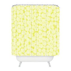 DENY Designs - Joy Laforme Dahlias Chartreuse Shower Curtain - Who says bathrooms can't be fun? To get the most bang for your buck, start with an artistic, inventive shower curtain. We've got endless options that will really make your bathroom pop. Heck, your guests may start spending a little extra time in there because of it!