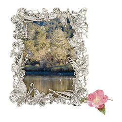 Arthur Court - Butterfly PF 5x7 - Surround yourself, or someone you love, with a little bit of paradise. This charming frame features a whimsical flight of butterflies, made of gleaming, sand-cast aluminum.