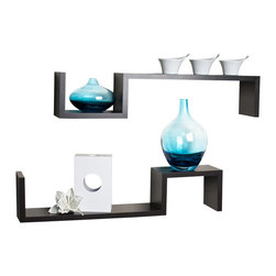 "Danya B. - ""S"" Wall Mount Shelves (Set of 2), Walnut - Set of 2 S"" wall mount shelves give the illusion of floating in the wall and add a contemporary feel to your room decor. Can be arranged in different configurations to create your own look while solving your storage problems. Easy to install with no visible connectors or hanging hardware. All hardware included. Overall measures: 22x4.75x4""."