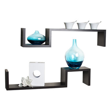 """Danya B. - """"S"""" Wall Mount Shelves (Set of 2), Walnut - Set of 2 S"""" wall mount shelves give the illusion of floating in the wall and add a contemporary feel to your room decor. Can be arranged in different configurations to create your own look while solving your storage problems. Easy to install with no visible connectors or hanging hardware. All hardware included. Overall measures: 22x4.75x4""""."""
