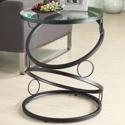 Monarch - Matte Black Metal Accent Table with Tempered Glass - Add a contemporary appeal to your space with this matte black accent table. Its unique, connecting circle designed base definitely that accentuates this piece. Place a lamp, picture frame, plant or any decorative accent on this functional side table. In a rich black metal finish, it will be an eye catcher in any room.