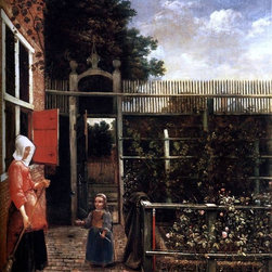 "Hendrick Van der Burch Woman with a Child Blowing Bubbles Print - 16"" x 20"" Hendrick Van der Burch Woman with a Child Blowing Bubbles in a Garden premium archival print reproduced to meet museum quality standards. Our museum quality archival prints are produced using high-precision print technology for a more accurate reproduction printed on high quality, heavyweight matte presentation paper with fade-resistant, archival inks. Our progressive business model allows us to offer works of art to you at the best wholesale pricing, significantly less than art gallery prices, affordable to all. This line of artwork is produced with extra white border space (if you choose to have it framed, for your framer to work with to frame properly or utilize a larger mat and/or frame).  We present a comprehensive collection of exceptional art reproductions byHendrick Van der Burch."