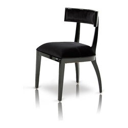 AA032 Armani Black Dining Chair - Modern curved armani black lacquer dining side chair