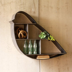 Metal Bird Display - Combine industrial chic with the charm of nature with this metal bird display shelf. Asymmetrical shelves provide visual interest for your own items. Use this shelf to create small tableaux on your wall.
