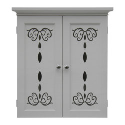 None - Danielle 2 Door Wall Cabinet - The intricate floral design on this white two-door wall cabinet gives an elegant look to any room. Satin nickel knobs highlight two doors that open to reveal a large storage space. The shelves are conveniently adjustable to fit larger objects.