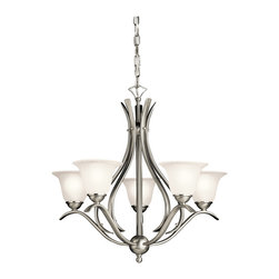 Kichler - Kichler Dover Five Light Brushed Nickel Up Chandelier - 2020NI - This Five Light Up Chandelier is part of the Dover Collection and has a Brushed Nickel Finish.