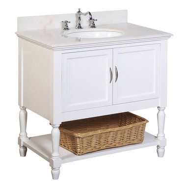 Kitchen Bath Collection - Beverly 36-in Bath Vanity (White/White) - This bathroom vanity set by Kitchen Bath Collection includes a white cabinet, white marble countertop, undermount ceramic sink, pop-up drain, and P-trap. Order now and we will include the pictured three-hole faucet and a matching backsplash as a free gift! All vanities come fully assembled by the manufacturer, with countertop & sink pre-installed.