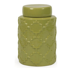 iMax - IMax Essentials Green Apple Small Canister - With it's bright color and embossed quatrefoil pattern, this small lidded ceramic canister is both a fun and functional part of the Green Apple collection from Essentials by Connie Post.