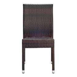 Safavieh - Newbury Tiger Stripe Aluminum Frame Wicker Patio Chair (2-Pack) - Relax and unwind. The New Castle Wicker Side Chair (sold in a set of two) is an update on classic wicker with new transitional style. Crafted with an aluminum frame in a tiger stripe pattern, it brings a bit of modern magic to warm summer nights. The New Castle chair is a great companion for your home whether in the country side or in the busy city.