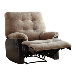 "Acme - Layce 2 Tone Camel Morgan Fabric and Leather-Like Motion Glider Recliner - Layce 2 tone camel morgan fabric and leather like standard motion glider recliner chair with overstuffed seats and arms. This recliner features a gliding seat and a 2 tone camel morgan fabric and leather like upholstery with a release latch on the side of the recliner, this is a manual recliner you need to push the footrest back to lock it in. Recliner measures 38"" x 37"" x 41""H. Some assembly may be required."