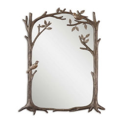 Uttermost - Uttermost 12789  Perching Birds Small Decorative Mirror - Frame features a heavily antiqued silver leaf finish with a charcoal gray wash and burnished distressing.