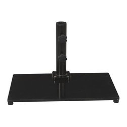 Galtech - 40 lb. Half Wall Umbrella Base Multicolor - 040SQBK - Shop for Bases and Stands from Hayneedle.com! Smart space-saving design will make the 40 lb. Umbrella Base for the 3.5 x 7 ft. Half Wall Umbrella a fantastic choice for those with small patios or balconies. Designed specifically for use with the 3.5 x 7 ft. Half Wall Aluminum Umbrella this metal stand features a slightly angled neck that's positioned on one edge of the base. This placement and angling allows the Half Wall Umbrella to lean against the closest wall decreasing the amount of clearance it needs. The base accommodates poles up to 1.5-inches diameter and features protective feet on the base.What distinguishes Galtech Market Patio and Offset Umbrellas from the rest?Galtech International continuously strives to produce the most innovative market and patio umbrellas. Galtech's goal is to integrate the finest components available from stainless steel cable to solid resin hubs to create the most beautiful durable and functional patio umbrellas imaginable. They manufacture an umbrella in every size shape and functionality available.Market umbrellas and offset umbrellas range in size from 7.5 to 11 feet and are available in wood or aluminum poles. Most aluminum umbrellas feature threaded coupling solid resin hubs and finials dynamic auto-tilt and stainless steel cable. Some aluminum umbrellas feature auto-locking metal housing that secures the umbrella in its tilted position. Wood market umbrellas feature threaded coupling premium multi-layer finishes and a brass base sleeve to protect the pole base from moisture. Some wood umbrellas also feature decorative brass trim on the ribs and rotational tilt to expand afternoon shade.