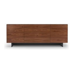 "Spot on Square - Roh 70"" TV Stand - The Roh collection by Spot On Square is every modernists dream. The generously sized, 2-Door, 2- drawer credenza will accommodate storage for even the biggest needs. Inside each door is a shelf that can be adjusted up or down within the space. Made of walnut veneer over 100% recycled Medex SDF painted with a non-toxic low VOC paint. This premium collection by Spot On Square raises the bar with innovation of design and material for the nursery. Features: -Roh collection. -Finish: White/Walnut. -Material: 100% Recycled Medex SDF and a non-toxic low VOC paint with Walnut Veneer. -2 Doors on either end with adjustable shelf inside. -2 Generously sized drawers allowing for ample storage. -Inside each door is a shelf that can be adjusted up or down within the space. -Deep 16"" shelves for ample display space. -Made in the USA."