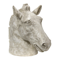 Cluny Horse Bust - An equine portrait with an air of immediacy  in its realistic crafting, the Cluny Horse Bust is the perfect accent sculpture for a traditional neo-Classical room or any home where equestrians value the tradition of animal handling.  Set it off on a pedestal in a formal sitting room or tuck it into a nook or on a side table to make this alert horse's head, which has a rippling grey and white texture, better suited to a more casual and comfortable space.