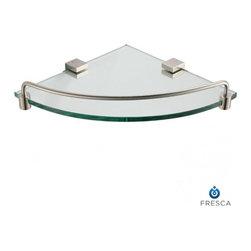 Fresca - Fresca FAC0448BN Ottimo Corner Glass Shelf - Brushed Nickel - Fresca FAC0448BN Ottimo Corner Glass Shelf - Brushed Nickel