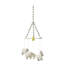 """Pehr - Counting Sheep Mobile by Pehr - Darling sheep dangle from the rim of a pom pom adorned ring with a bright yellow star above their heads. All animals are felted wool for a sweet earthy feel. This happy little mobile can hang anywhere in a nursery for a soft whimsical touch. (PD) 9"""" wide x 28"""" high"""