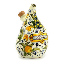 Artistica - Hand Made in Italy - CAFFAGIOLO: Crumpled Olive Oil Bottle Cruet - CAFFAGIOLO Collection: This product is part of our Caffagiolo Collection. The Caffagiolo pattern depicted in this item is a true Italian classic and certainly the most popular pattern from the Italian town of Deruta.