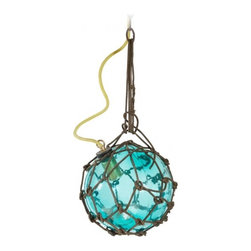 ecofirstart - Antique Japanese Fishing Float - Bring the beauty of the ocean home with this vintage Japanese fishing float, which has been innovatively crafted into a pendant light. This recycled sphere of aqua sea glass has been newly wired for your modern use, and hangs elegantly from its woven line.