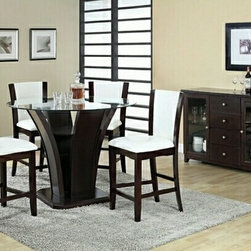 "Asia Direct - 5-Piece Espresso Wood Finish Counter Height Round Table Set Tempered Glass Top - 5-piece espresso wood finish counter height round table set tempered glass top. Counter height dining table set measures: 48"" Dia x 8MM x 36.75""H, and (4) white upholstered counter height chair and espresso trim measures: 17.5""x 19""x 41.5""H. Optional sideboard available for additional cost. Some assembly may be required."