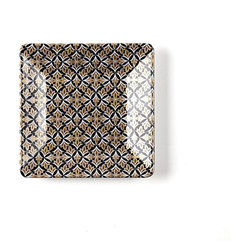 Q Squared NYC - Essex Appetizer Plate - Serve with sophistication when you place this stylish square appetizer plate on your table. This art deco-inspired geometrically patterned black and gold lamé plate will make you feel so glamorous, every time you use it.
