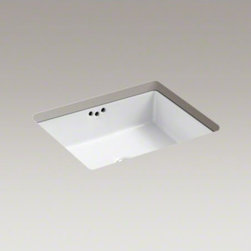 "KOHLER - KOHLER Kathryn(R) 19-3/4"" X 15-5/8"" X 6-1/4"" under-mount bathroom sink with glaz - Inspired by a 1929 KOHLER exhibition at the Metropolitan Museum of Art, the Kathryn collection captures the unforgettable style of a bygone era. With its modern interpretation of retro styling, this rectangular sink makes a striking addition to the bathro"