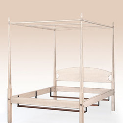 Monroe Pencil Post Bed with Canopy - Pencil Post Bed with Canopy with a rustic white painted finish. This bed is available in cherry wood, tiger maple wood and painted finishes. You can have this piece made in all of the beds sizes. Price would vary depending on options. American Made.