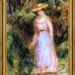 "Pierre Auguste Renoir-16""x24"" Framed Canvas - 16"" x 24"" Pierre Auguste Renoir Young Woman Taking a Walk framed premium canvas print reproduced to meet museum quality standards. Our museum quality canvas prints are produced using high-precision print technology for a more accurate reproduction printed on high quality canvas with fade-resistant, archival inks. Our progressive business model allows us to offer works of art to you at the best wholesale pricing, significantly less than art gallery prices, affordable to all. This artwork is hand stretched onto wooden stretcher bars, then mounted into our 3"" wide gold finish frame with black panel by one of our expert framers. Our framed canvas print comes with hardware, ready to hang on your wall.  We present a comprehensive collection of exceptional canvas art reproductions by Pierre Auguste Renoir."