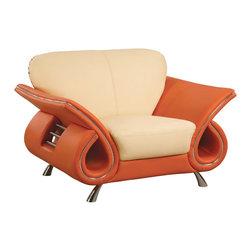 "Global Furniture - 559 Leather Chair in Beige & Orange - 559 Leather Chair in Beige & Orange;Features: Color: Beige & Orange;Material: Leather/Leather Match;Legs Color/Material: Chrome/Metal;Dimensions: L48"" x D37"" x H36"""