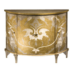 "Inviting Home - Hand-Painted Four Door Cabinet - Demilune four door cabinet with hand-painted gold silver and ivory finish leaf motif antiqued silver top and one shelf inside; 47-3/4""W x 19-3/4""D x 36-1/4""H Hand-painted demilune four door cabinet with one shelf inside. Cabinet hand-pained in gold silver and ivory finish with leaf motif."