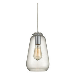 "Elk Lighting - Orbital Glass Pendant Light, Clear/Polished Chrome - Jar-shaped, the Orbital Glass Pendant Light is certain to add class and sophistication to your space. Introduced from the ceiling by a round metal canopy, this one-light luminary tenders sensual and sophisticated curvature. Suspended by cord, this light fixture offers a maximum hanging height of 84""."