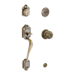 "Schlage - Parthenon Handleset w Georgian Interior Knob - Manufacturer SKU: F93 PAR 609 GEO . Handle Type: Handleset. Dummy function includes a handleset grip, interrior knob or lever and non-functioning deadbolt; does not lock. Patented adjustable through-bolt allows easy installation; retrofits existing doors. Reversible lever for easy installation. Limited Lifetime Mechanical and Finish Warranty. Coordinate with other Georgian Antique Brass products. High quality materials and construction used for a longer life and brilliant finish. Designed for standard door prep (fits existing pre-drilled holes). Universal latch adjusts to fit 2-3/8"" or 2-3/4"". Fits 1-3/8"" to 1-3/4"" wood or metal doors. Finish: Antique Brass. 2.5 in. L x 3 in. W x 12.4 in. H (5.2 lbs)"