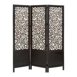 "Benzara - Black Finish Scroll Design Center Room Dividers Wood Screen 3 Panel - Black Finish Scroll Design Center Room Dividers Wood Screen 3 Panel 72""H, 60""W."