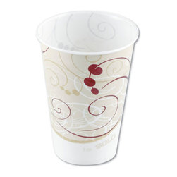 SOLO CUP - C-PPR CUP 5OZ WXD SYMPH 30/100 - Extra rigidity for large drinks and ice. Fully waxed to extend usability. Two-piece construction with tightly rolled rim. Satin-smooth finish inside and out.. . . . Symphony™ Design. 5-oz. 100 30 3,000. . . Wax-Coated Paper Cold Cups. Dimensions: Height: 1.625, Length: 1.30733, Width: 1.09375. Country of Origin: US   CAT: Foodservice Cups/Lids Paper Hot/Cold & Combos