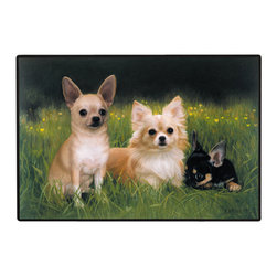 185-Chihuahua-Path Doormat - 100% Polyester face, permanently dye printed & fade resistant, nonskid rubber backing, durable polypropylene web trim on the porch or near your back entrance to the house with indoor and outdoor compatible rugs that stand up to heavy use and weather effects