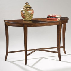 Magnussen Furniture - Demilune Sofa Table - Kingston - Classic European overtones, enhanced with shaped legs and X stretchers, plus unique small nesting tables accompanying our larger overal cocktail place Kingston in a league by itself. The collection is crated of ash burl veneers with walnut inlay over hardwood solids. An ideal companion for any traditional seating. 48 in. W x 19 in. D x 29 in. H